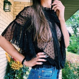 Free People sheer polka dot top